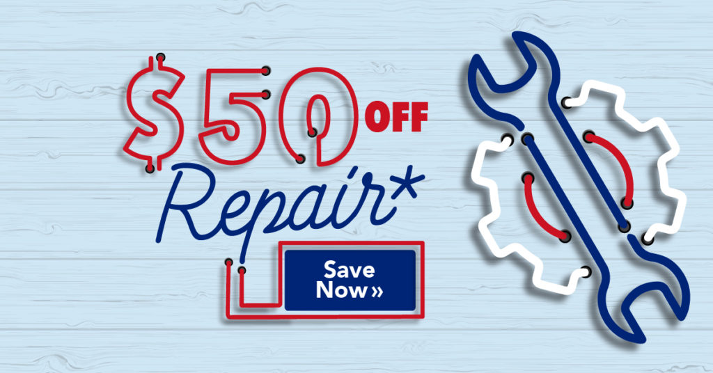 $50 off repair Save now